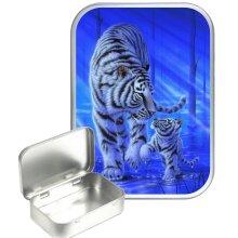 Blue Tiger 30ml Silver Hinged Tobacco Tin, Gift Tin
