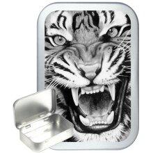 Tiger Roar 50ml Silver Hinged Tobacco Tin, Gift Tin