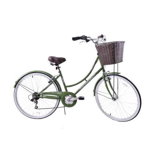 "Classique 26"" Wheel Womens Dutch Traditional Bike & Basket Green 19"""
