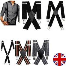 35mm Adjustable Mens Trouser Suspenders Braces X Shape with Strong Metal Clips