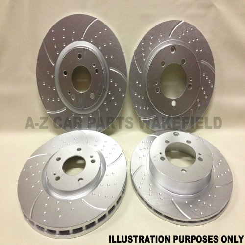 For Honda civic 1.8 VTI MB6 Front Rear dimpled grooved brake discs 282MM 4 Stud
