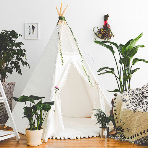 Large Cotton Canvas Kid Teepee Tent Children Indoor Outdoor Play House