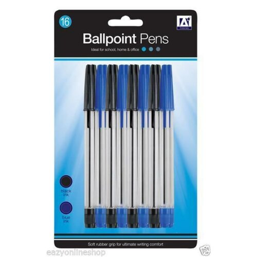 SET OF 16 BALL POINT PEN BLACK / BLUE Work Writing Pen Back to School Stationery
