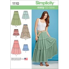 Simplicity Easy-To-Sew Misses' Tiered Skirt With Variations-XXS-XS-S-M-L-XL-XXL