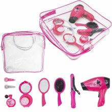 deAO Hairdressing and Vanity Handbag Beauty Set Girls Styling Pretend Makeup and Hair Accessories Playset Including Hairdryer Toy and Curlers