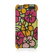 DreamWireless IPOD-FDTH5GRHPHF Ipod Touch 5 Full Diamond Case, Hawaii Flower - Green & Hot Pink