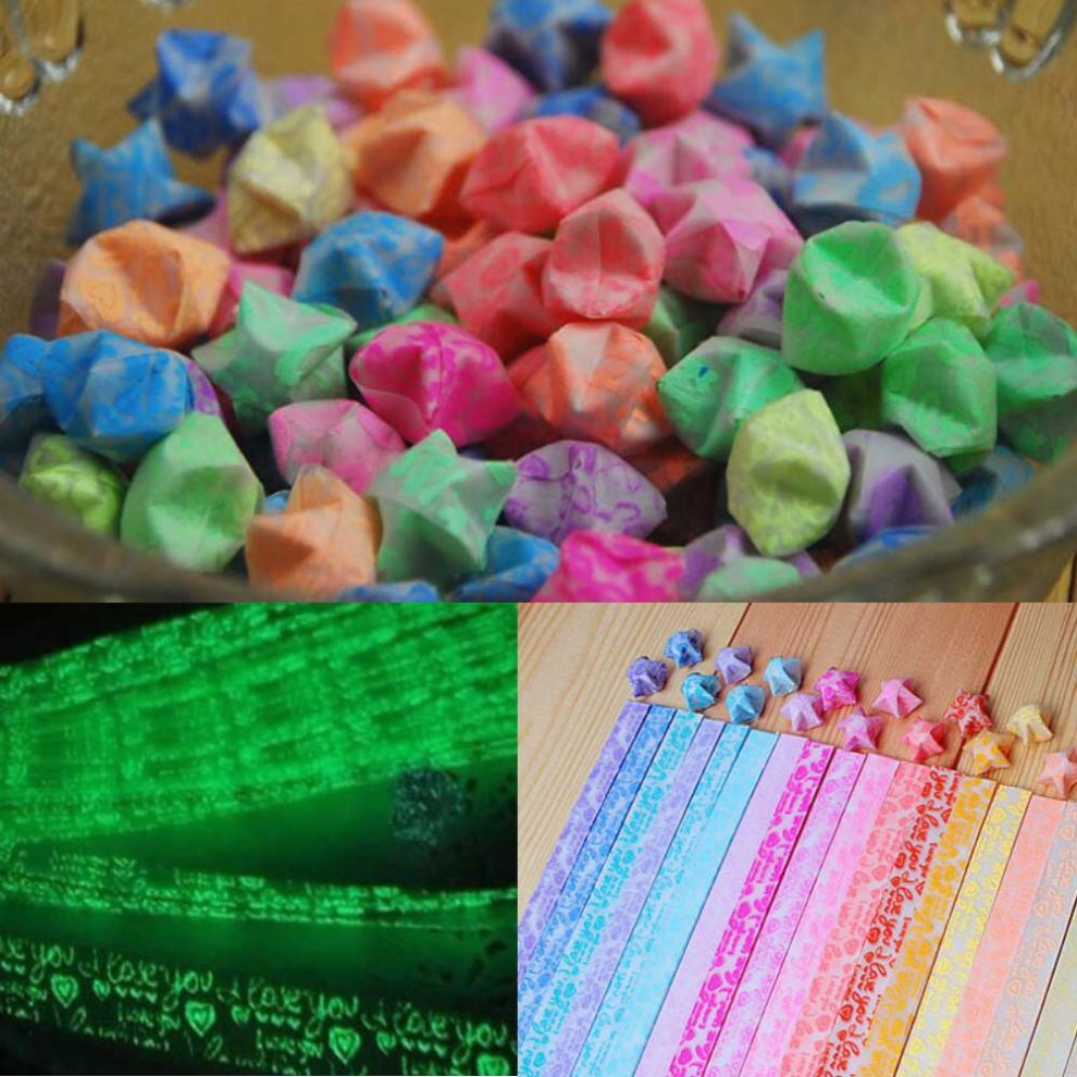 300 Sheets Lucky Wish Star Origami Paper Star Folding Papers Glows in The Dark 19