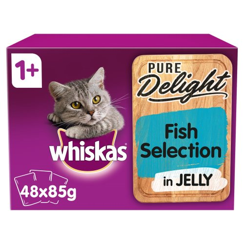 48 x 85g Whiskas Pure Delight 1+ Adult Wet Cat Food Pouches Mixed Fish in Jelly