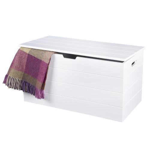 Seaton White Wooden Storage Chest (Blanket Box, Ottoman, Toy Box)