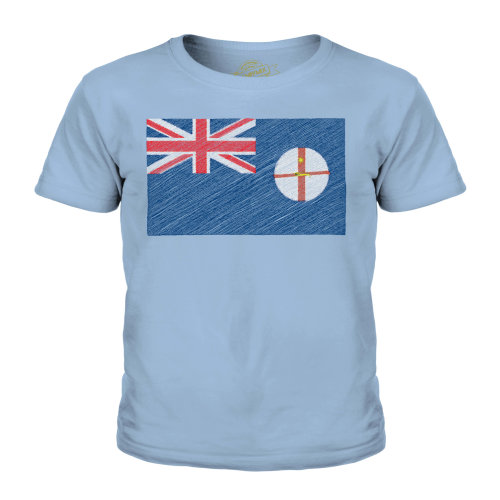 (Sky Blue, 3-4 Years) Candymix - New South Wales Scribble Flag - Unisex Kid's T-Shirt