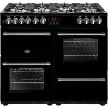 Belling Farmhouse100DF 100cm Dual Fuel Range Cooker - Black