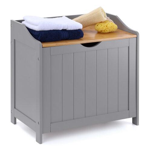 Wooden Laundry Box Bin Grey Bamboo Bathroom Storage Basket Linen Chest Christow