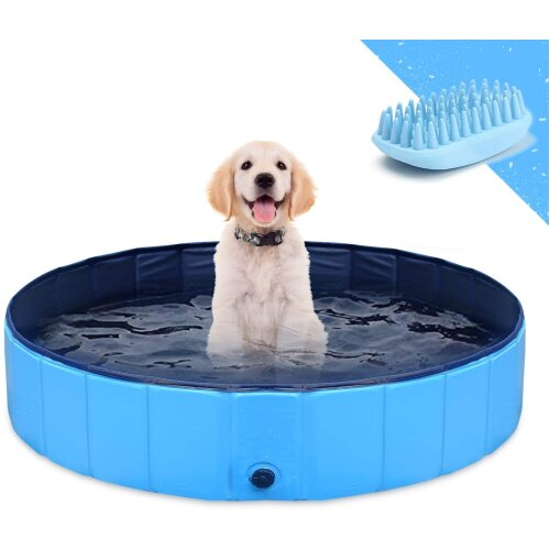 Foldable Dog Pet Bath Pool Collapsible Dog Pet Pool Bathing Tub Kiddie Pool for Dogs Cats and Kids(80X20CM)