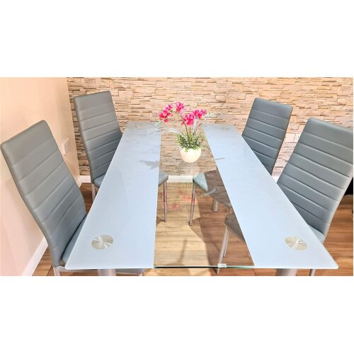 (Table with 4 chairs) GLASS GREY DINING TABLE SET AND 6 OR 4 GREY CHAIRS