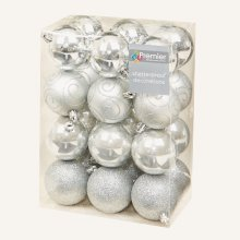 Christmas Tree Decoration 24 Pack 60mm Shatterproof Baubles - Silver