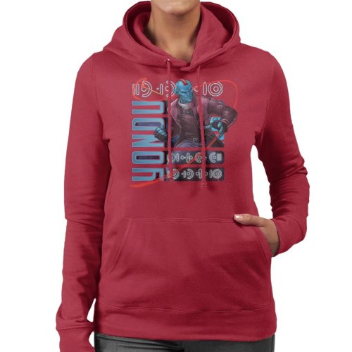 (X-Large, Cherry Red) Marvel Guardians Of The Galaxy Cartoon Yondu Women's Hooded Sweatshirt
