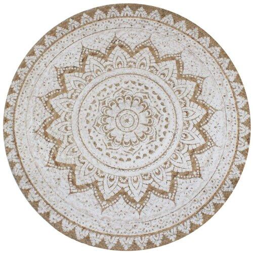 vidaXL Area Rug Braided Jute Printed 90cm Round Home Living Room Floor Carpet