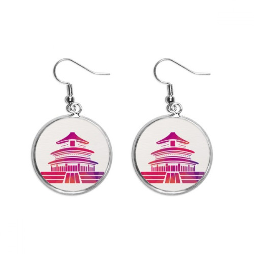 China Red Temple Of Heaven Patriotism Ear Dangle Silver Drop Earring Jewelry Woman