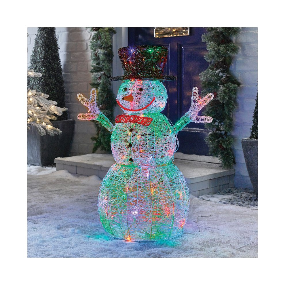 76cm Pre-Lit Snowman Figure with 88 White LED/'s Christmas Display