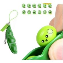 V-VAPE PEA POD SQUEEZE A BEAN KEY CHAIN FIDGET TOYS SQUISHY PEAPOD STRESS TOY REDUCE ANXIETY AND STRESS