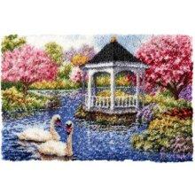 Swans and Gazebo Rug Latch Hooking Kit (102x69cm)