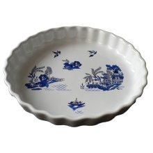 Blue Willow Pattern 25cm Ceramic flan Quiche Dish