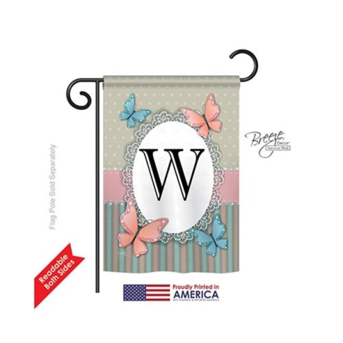 Breeze Decor 80153 Butterflies W Monogram 2-Sided Impression Garden Flag - 13 x 18.5 in.