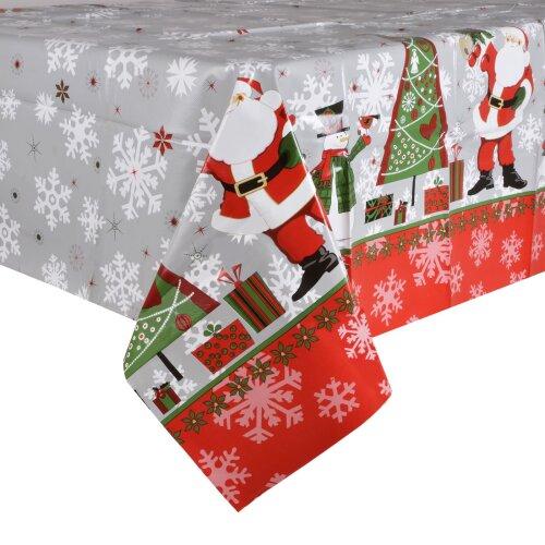 Silver Santas Wipe Clean PVC Vinyl Tablecloth Table Cover Protector 140x240cm