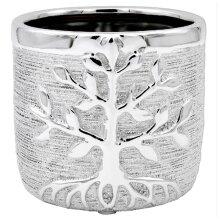 Silver Tree Of Life Ceramic Indoor Flower Kitchen Herb Plant Pot Medium Planter