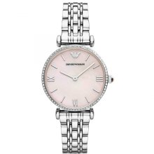 Emporio Armani Gianni T-Bar Pink Dial Stainless Ladies Watch AR1779