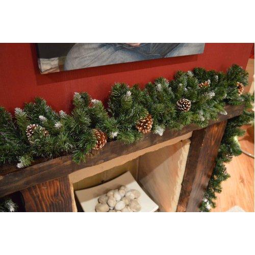 270cm x 25cm Samuel Alexander Snow King Fir Christmas Garland with Pine Cones