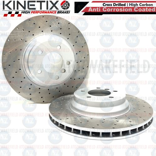 FOR BMW 335i E93 FRONT DRILLED KINETIX PERFORMANCE BRAKE DISCS PAIR 348mm COATED
