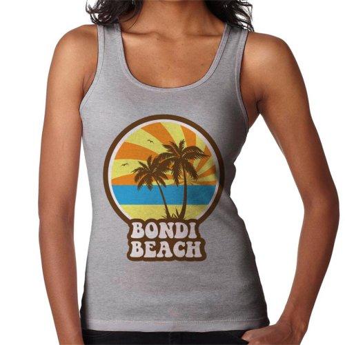 (XX-Large, Heather Grey) Bondi Beach Retro Sunset Women's Vest