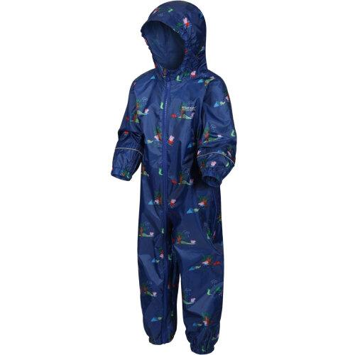 (3-4 Years, New Royal) Regatta Unisex Kids Peppa Pig Pobble Print Waterproof Hooded Zip Up Puddle Suit