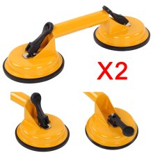 2 x Double Suction Cup Glass Lifter Metal Window Mirror Puller