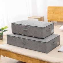 Cotton Linen Under Bed Storage Box Foldable Quilt Organizer Large Capacity|Foldable Storage Bags