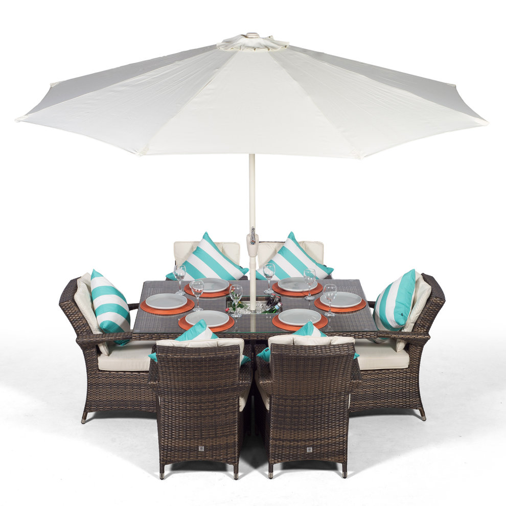 Set Giardino In Rattan.Arizona 150cm Rectangle 6 Seater Rattan Dining Set With Drinks