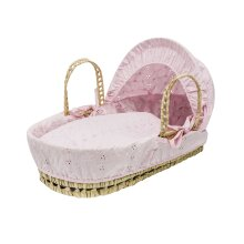 Pink Broiderie Anglaise Dolls Moses Basket Toy