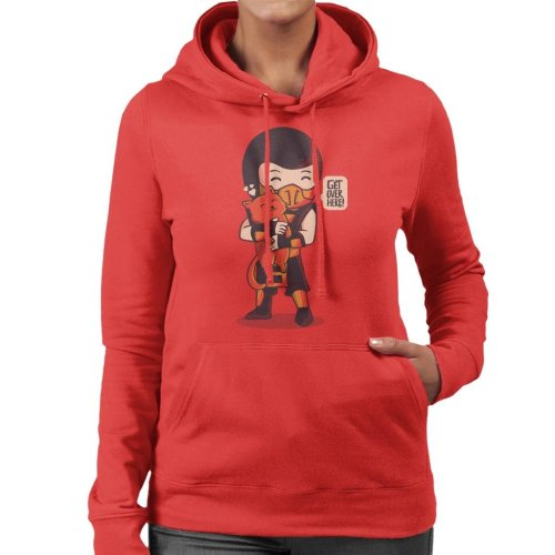 (Large, Red) Cute Scorpion Get Over Here Mortal Kombat Women's Hooded Sweatshirt