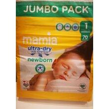 Newborn Nappies Mamia Size 1 70 Jumbo pack & Free Baby Wipes