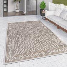 Outdoor Rug Beige Cream Large XL Small for Garden Patios Decking Gazebo Soft Woven Greek Key Geometric Mat