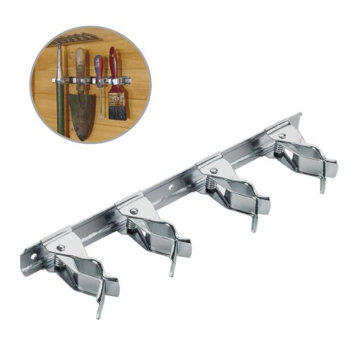 2 x Adjustable Spring Loaded 28cm Tool Clip Bars Storage for Garden & Work Tools
