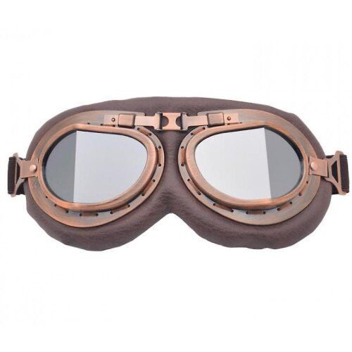 Motorcycle Riding Goggles Retro Classic Glasses Windshield(Silver)