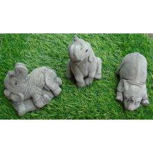 Set of 3 small lucky Elephants Hand Cast Stone Garden Ornaments