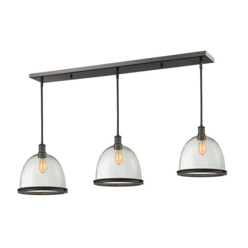 Zlite 717P13-3OB Mason 3 Light Island & Billiard Light in Olde Bronze with Clear Seedy Shade