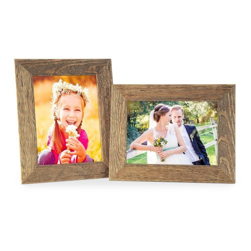 Photolini Set of 2 Picture Frames with Dimensions of 10x15 cm / 6 x 4 Inch, Beach-House Style, Rustic, Oak, Natural Solid Wood with Glass Insert
