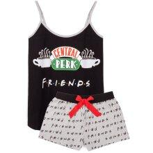 Friends Pyjamas For Women   Ladies Central Perk Cafe Black Vest With Shorts PJs   TV Show T-Shirt Clothing Merchandise