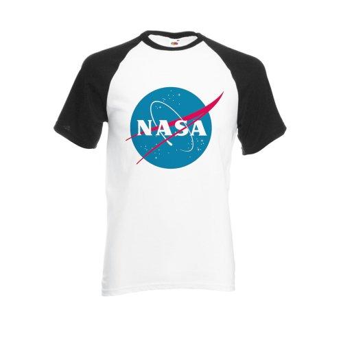 Nasa National Space Administration Logo Black/White Men Women Unisex Shirt Sleeve Baseball T Shirt