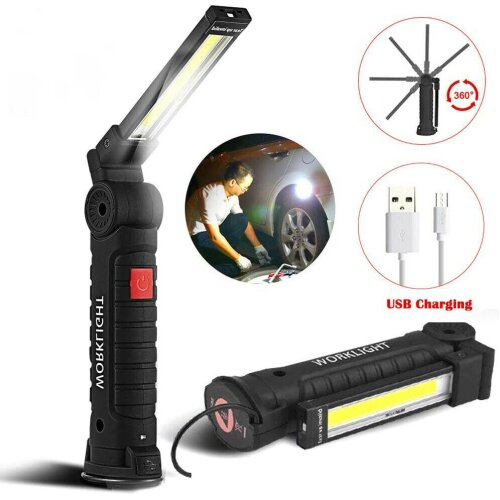 LED COB Hand Torch Inspection Lamp Flexible Work Light Handheld USB Rechargeable