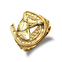 Jewelco London Men's Solid 9ct Yellow Gold Horse Head Horseshoe Ring